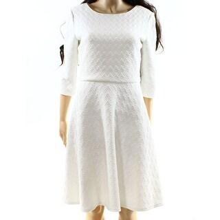 Donna Morgan NEW White Womens Size 14 Fit N Flare Jacquard Sheath Dress