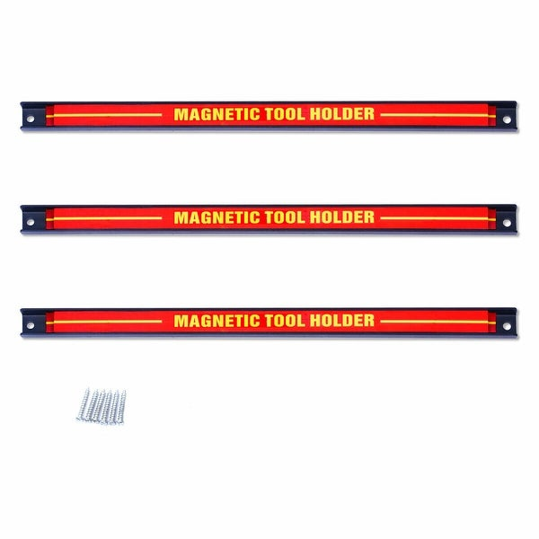Gymax 3 PCS 18'' Magnetic Tool Holder Bar Organizer Storage Rack Knife Wrench Pilers