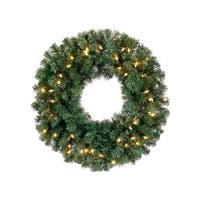 "24"" Pre-Lit Deluxe Windsor Pine Artificial Christmas Wreath - Clear Lights - green"
