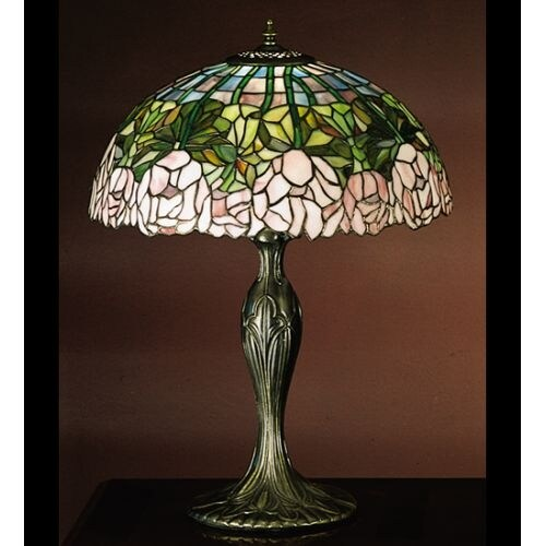Meyda Tiffany 31143 Stained Glass / Tiffany Table Lamp from the Cabbage Rose Collection