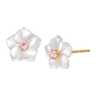 Mother-of-Pearl Flower Earrings with Pink Cubic Zirconia in 14K Gold