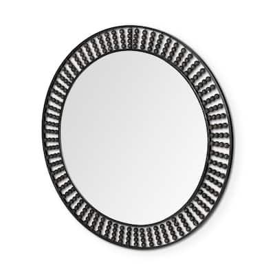 "Claiborne 42"" Round Black Metal Frame Mirror w/Wood Beads"