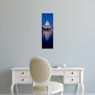 Easy Art Prints Panoramic Image 'Reflection of building, Capitol Building, Capitol Hill, Washington DC' Canvas Art