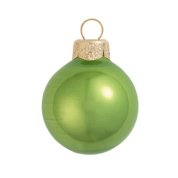 "2ct Pearl Lime Green Glass Ball Christmas Ornaments 6"" (150mm)"