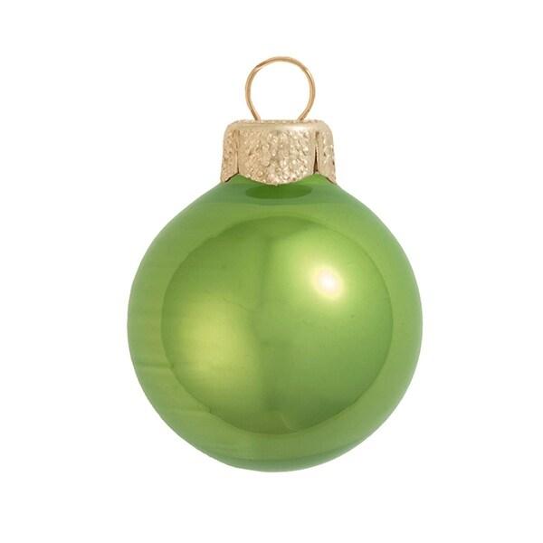 "6ct Pearl Lime Green Glass Ball Christmas Ornaments 4"" (100mm)"