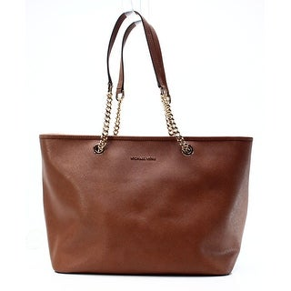Michael Kors NEW Brown Gold Saffiano Leather Jet Set Chain Tote Purse