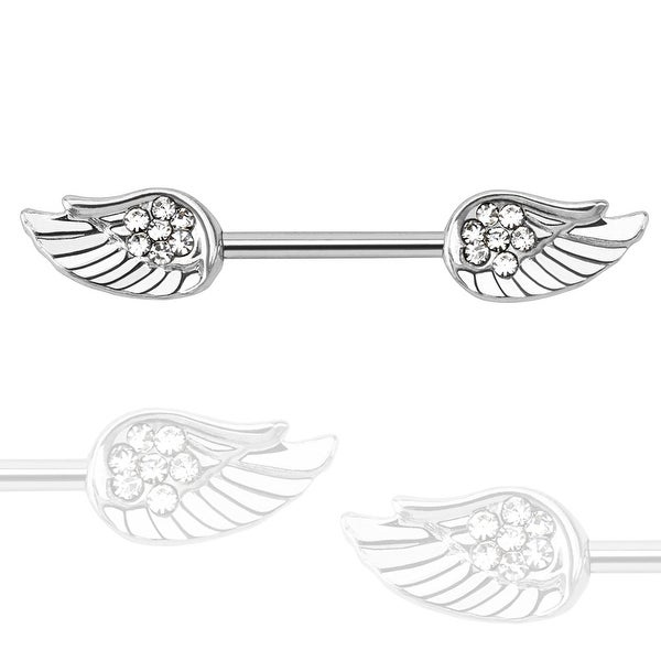 Angel Wings with Paved CZ 316L Surgical Steel Nipple Bar (Sold Individually)