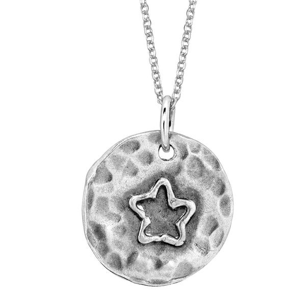 Hammered Star Pendant in Sterling Silver - White