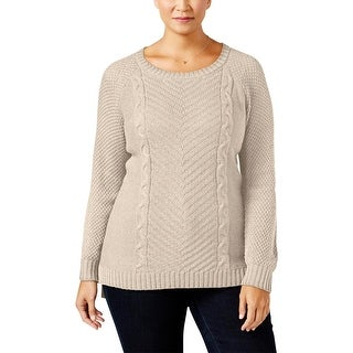 NY Collection Womens Plus Pullover Sweater Ribbed Trim Hi-Low (2 options available)
