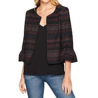 Nine West Black Women's Size 8 Ruffle-Cuff Bordeaux Multi Jacket