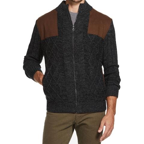 Weatherproof Mens Sweater Black Size Large L Full Zip Faux-Suede
