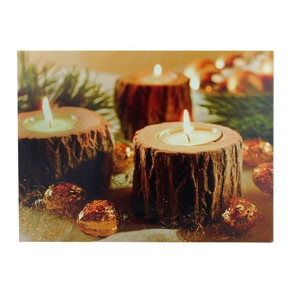 "LED Lighted Flickering Rustic Lodge Woodland Candles Canvas Wall Art 11.75"" x 15.75"""