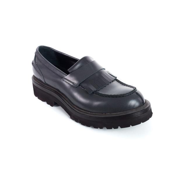 3a3197c7f5d Shop Brunello Cucinelli Women Grey Leather Fringe Detail Loafers ...