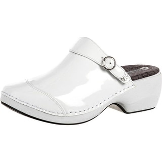 4EurSole Work Shoes Womens Patent Leather Clog White RKH051