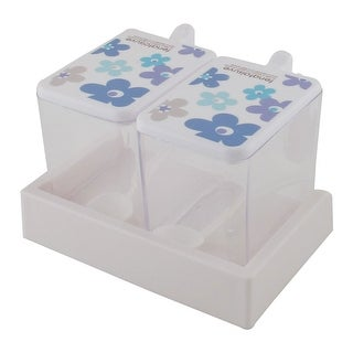 Plastic Flower Print 2 Sections Spices Condiment Container Dispenser Case Blue