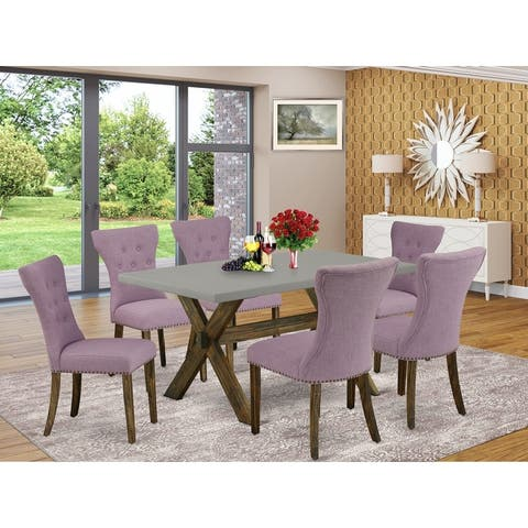 Dining Set Included Parson Chair and Rectangular Cement Table in Distressed Jacobean Finish