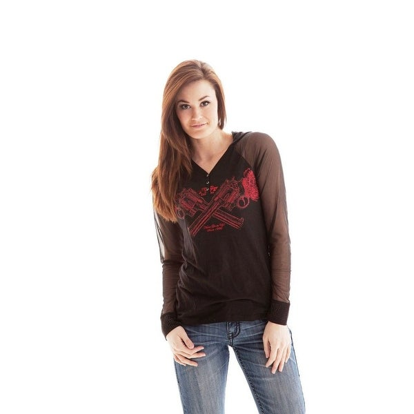 af70a57fba5b67 Shop Cowgirl Tuff Western Shirt Womens L S Henley Hood Bling Black H00356 -  Free Shipping On Orders Over  45 - Overstock - 15444321