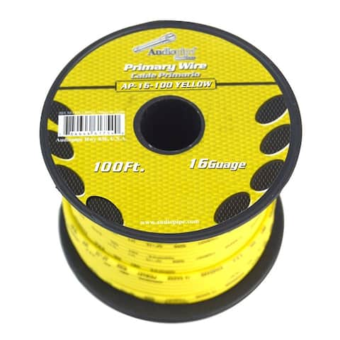Audiopipe ap-16-100 yellow audiopipe 16 gauge 100ft yellow primary wire