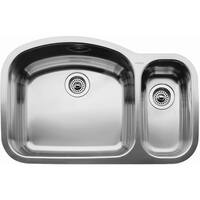 """Blanco 440246 Wave 1-1/2 Basin Undermount Stainless Steel Kitchen Sink with 6"""" and 10"""" Bowl Depths 32 1/8"""" x 20 7/8"""""""