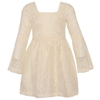 Big Girls Ivory Lace Long Sleeve Flared Cuff Trendy Dress