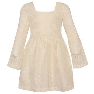 Little Girls Ivory Lace Long Sleeve Flared Cuff Trendy Dress