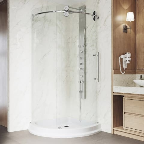 VIGO Sanibel Clear Shower Enclosure with Right-sided Opening and Base
