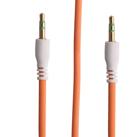 3ft Plastic 3.5mm Plug Male to Male Auxiliary Audio Adapter Stereo Cable Cord Orange