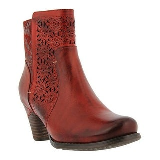 L'Artiste by Spring Step Women's Belle Ankle Boot Red Leather