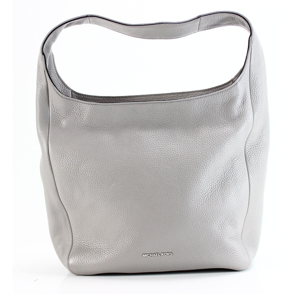 Shop Michael Kors NEW Lena Large Pearl Gray Hobo Leather Handbag ... ebf0c3cae5cb