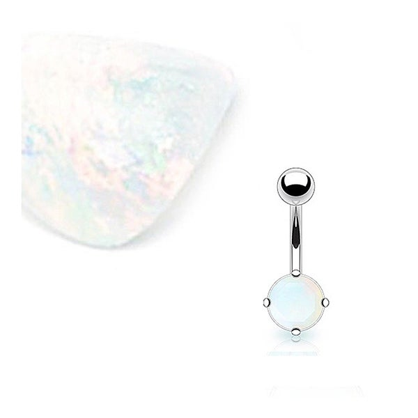 Stainless Steel Prong-Set Solid Argenon Flourite Semi Precious Stone Navel Belly Button Ring