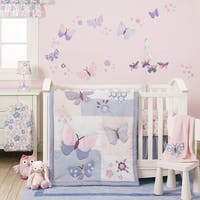 Bedtime Originals Butterfly Meadow Pink/Purple/White Floral 3-Piece Baby Nursery Crib Bedding Set