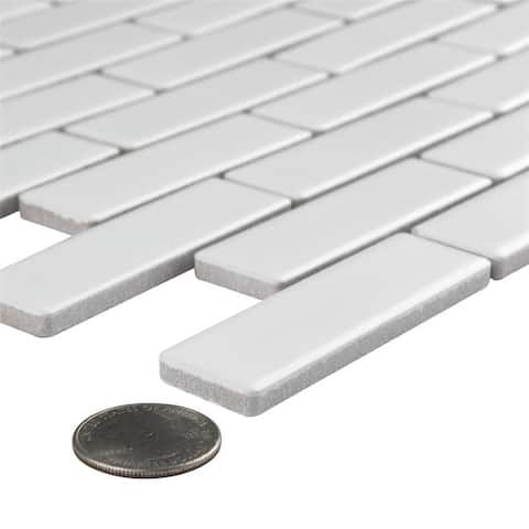 "SomerTile Metro Brick Subway Matte Cool White 12"" x 12"" Porcelain Mosaic Floor and Wall Tile"