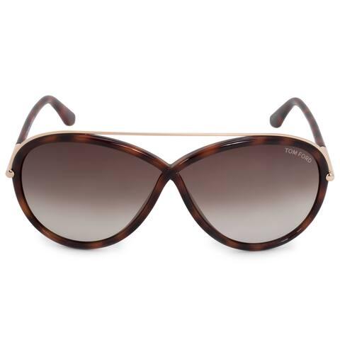 8011bb3fbb0a0 Tom Ford Tamara Oval Sunglasses FT0454 52K 64 Havana Frame Grey Gradient  Lenses