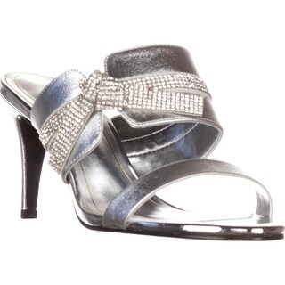 Caparros I-Love Knot Mule Evening Sandals, Silver Metallic