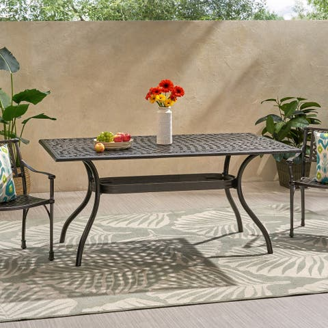 "Phoenix Traditional Outdoor Aluminum Rectangular Dining Table by Christopher Knight Home - 68.00"" W x 38.25"" D x 30.00"" H"