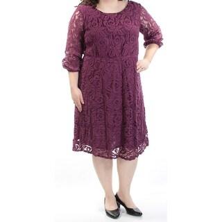 ING $69 Womens New 1417 Purple Floral 3/4 Sleeve Fit + Flare Dress 2X Plus B+B