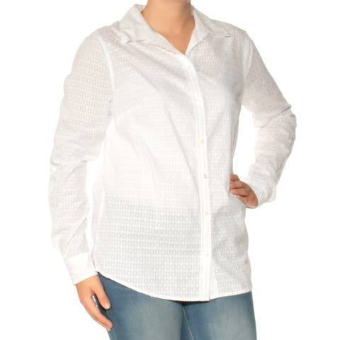 CHARTER CLUB Womens White Cuffed Collared Button Up Top Size: 6