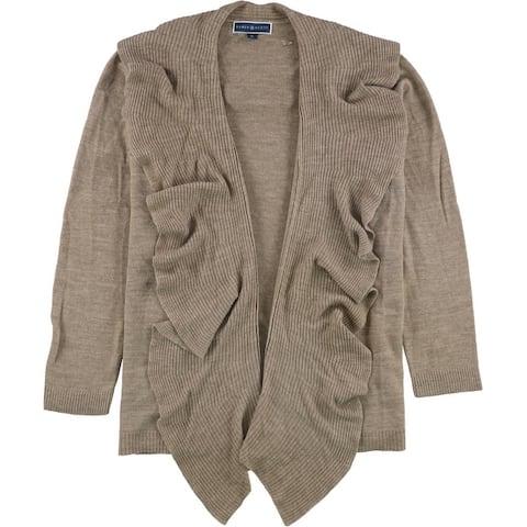 Karen Scott Womens Ruffled Cardigan Sweater