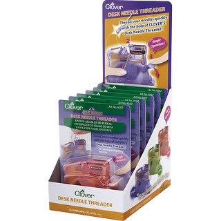 Clover Desk Needle Threader Assortment Display 6/Pkg-2 Each Of 3 Colors: Pink, Green, Purple