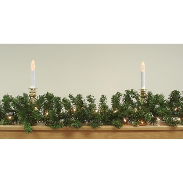 """9' x 10"""" Pre-Lit Two-Tone Pine Artificial Christmas Garland - Clear Lights - green"""