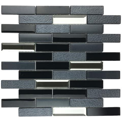 "TileGen. Paint Effect Brick 2"" x 4"" Glass Mosaic Tile in Black Wall Tile (10 sheets/9.6sqft.)"