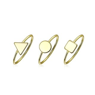 3 Set Minimalist Geometric Pyramid Circle 14K Gold Plated Sterling Silver Midi Knuckle Stackable Ring 1MM Band For Teen