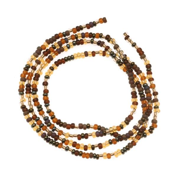 Czech Seed Beads Mix Lot 11/0 Wheatberry Brown Topaz 1/2 Hank