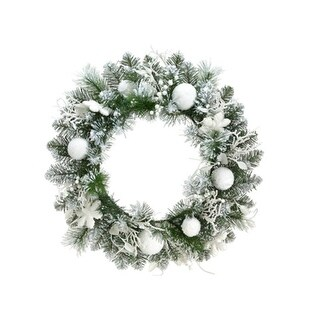 """24"""" Pre-Decorated Snowy Flocked Artificial Christmas Wreath - Unlit"""
