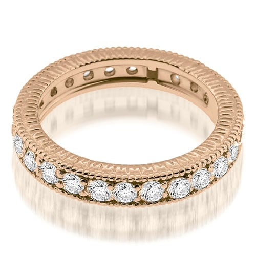 1.30 cttw. 14K Rose Gold Vintage Milgrain Round Cut Diamond Eternity Band Ring