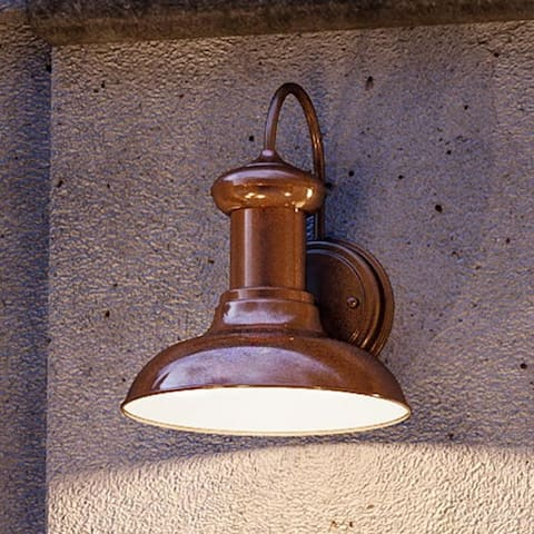 """Luxury Industrial Chic Outdoor Wall Light, 10""""H x 8.125""""W, with Nautical Style Elements, Solid Copper Finish by Urban Ambiance"""