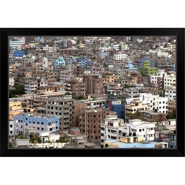 """City view of Dhaka, Bangladesh."" Black Framed Print"