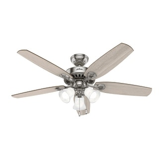 """Link to Hunter 52"""" Builder Ceiling Fan with LED Light and Pull Chain - Matte Silver Similar Items in Ceiling Fans"""