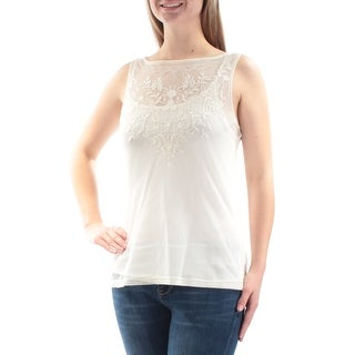 Womens Ivory Sleeveless Boat Neck Casual Top Size M