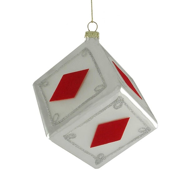 "3"" Diamonds Dice Casino Gambling Glass Christmas Ornament - RED"